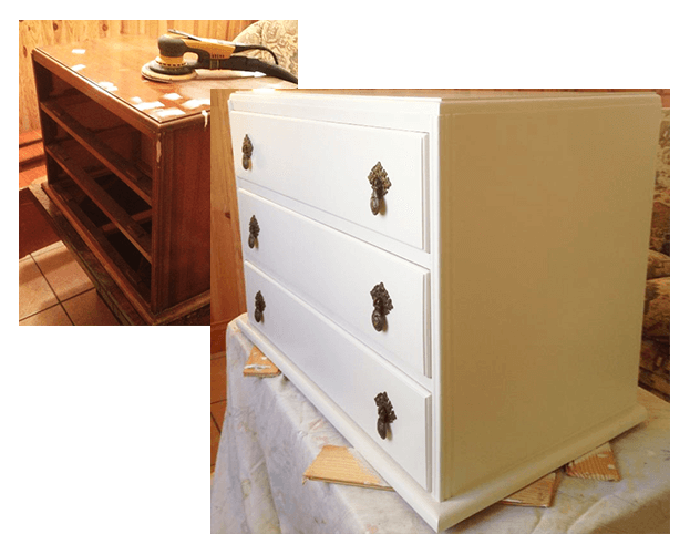 Before: Old chest in need of tlc. Surface imperfections filled and all sanded with Mirka Deros sander with dust extraction. After: Old chest renovated