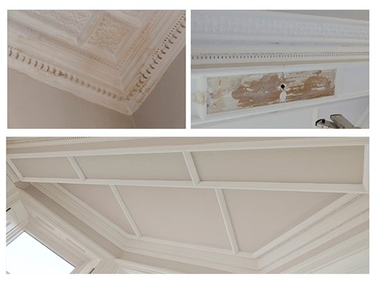 Ceiling repair in stately home via insurance. Top: before, Bottom: after