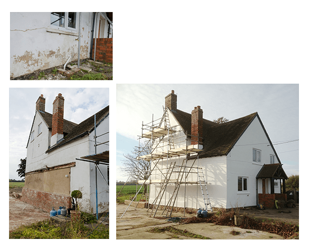 Top left: Farmhouse damage to render at front. Bottom left: Farmhouse left elevation before repair and paint. Bottom right: Farmhouse completed just before winter.
